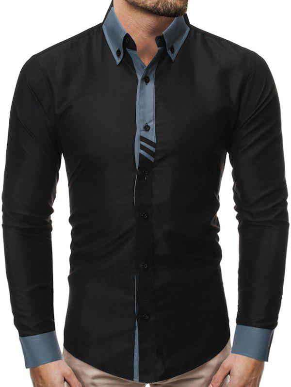 Color Spliced Button Up Casual Long-sleeved Shirt фото