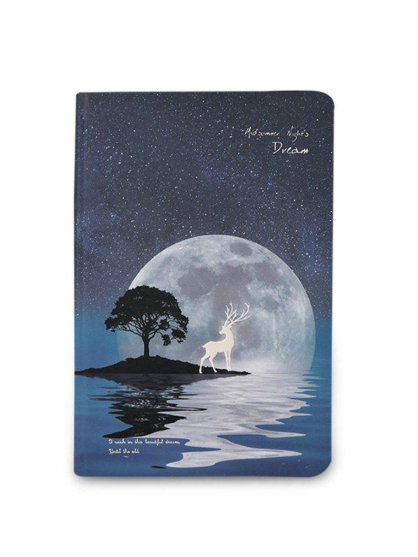 Trendy A5 Notebook with Starry Sky and Elk Pattern Luminous Cover