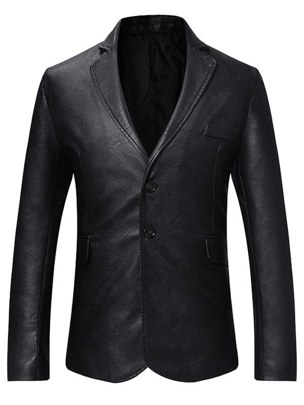 Cheap Faux Leather Button Long-sleeved Blazer