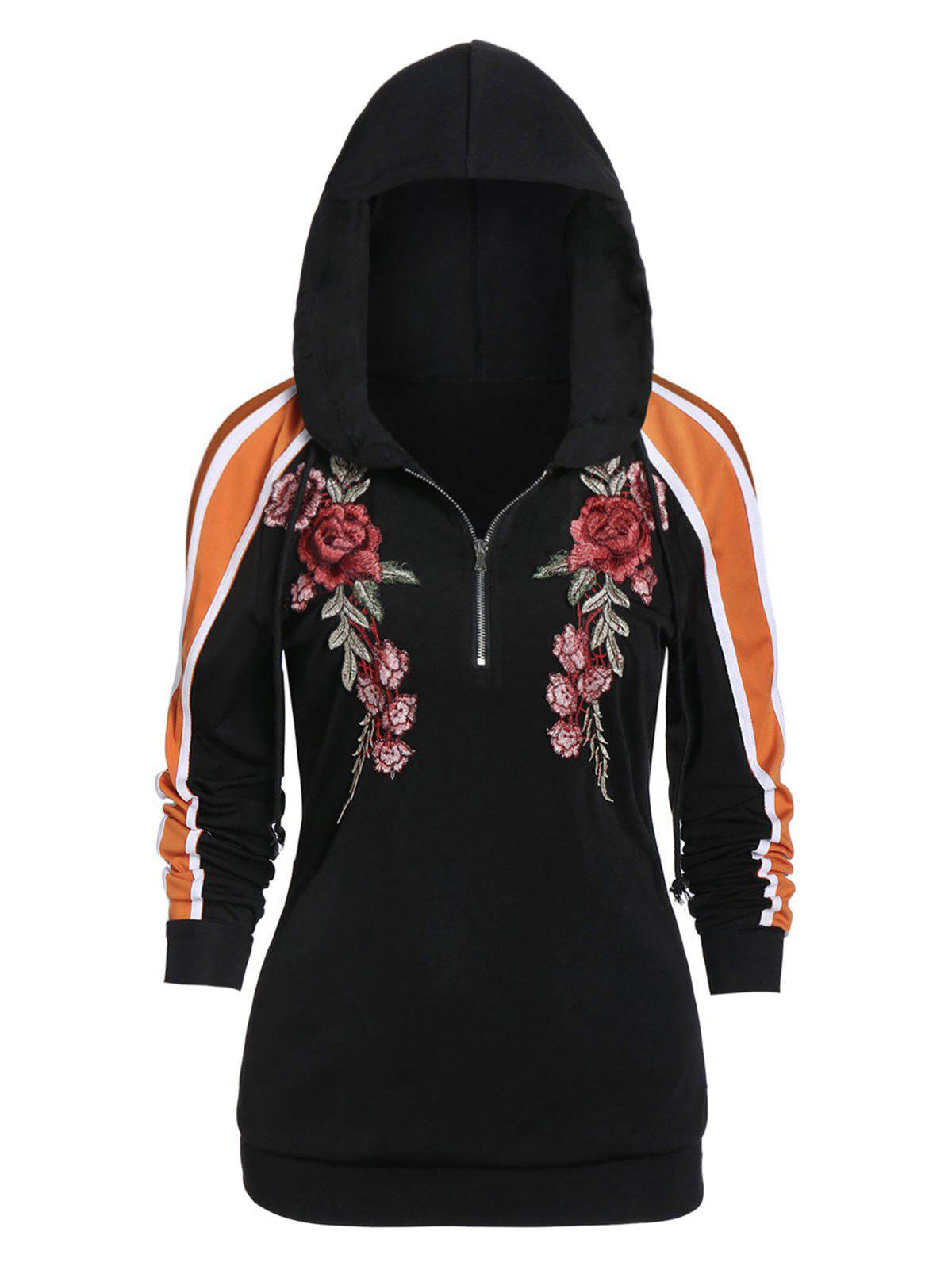 New Zippered Long Sleeve Embroidered Hoodie