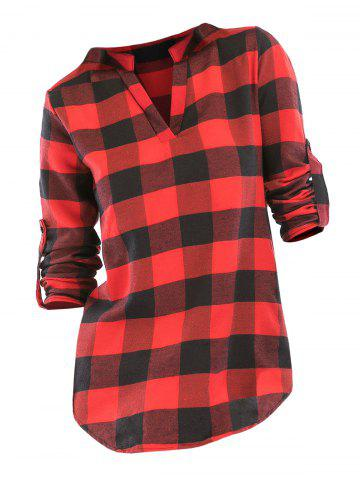 Plaid V Neck Roll Up Sleeve Blouse