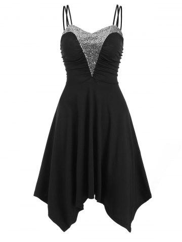 Sequined Ruched Asymmetrical Sleeveless Dress