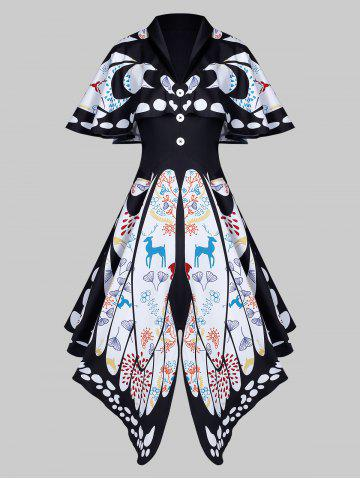 Shawl Collar Butterfly Print Buttoned Asymmetric Dress
