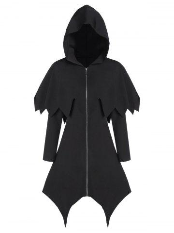 Hooded Zip Up Asymmetrical Capelet Gothic Coat