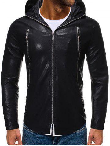 Solid Color Zipper Faux Leather Hooded Jacket - BLACK - XL