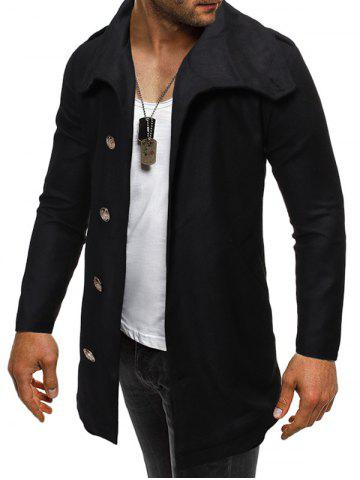 Solid Color Button Zipper Hem Woollen Coat - BLACK - 2XL