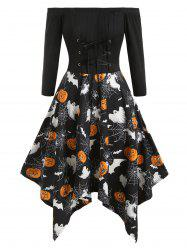 Lace Up Pumpkin Cobwebs Halloween Off Shoulder Plus Size Dress -