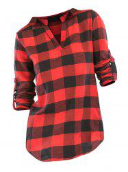Plaid V Neck Roll Up Sleeve Blouse -