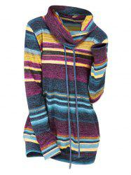 Striped Drawstring Cowl Neck Knitwear -