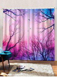 2 Panels Forest Galaxy Print Window Curtains -