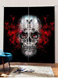 2 Panels Halloween Gear Skull Print Window Curtains -