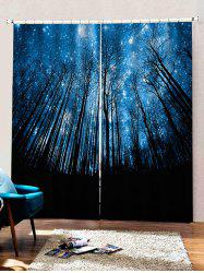 2 Panels Starry Sky Forest Print Window Curtains -