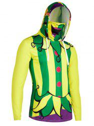 Halloween Pattern Striped Finger Hole Mouth Mask Hoodie -