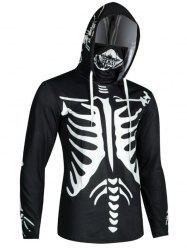 Halloween Skeleton Print Finger Hole Skull Mask Hoodie -