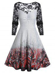 Plus Size Vintage A Line Lace Panel Sweetheart Neck Dress -
