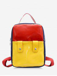Color Block Rectangle Patent Leather Backpack -