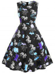 Plus Size Vintage Printed Halloween Party Dress -