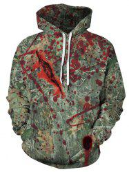 Plus Size Halloween Bloody Forest Print Kangaroo Pocket Pullover Hoodie -