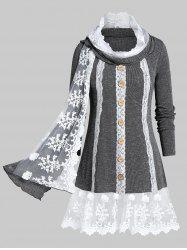 Plus Size Contrast Lace Space Dye Knit Top With Scarf -