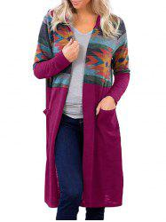 Hooded Geometric Pocket Long Knitted Cardigan -