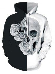 Plus Size Two Tone Floral Skull Print Halloween Hoodie -