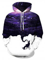 Plus Size Galaxy Smoke Print Kangaroo Pocket Pullover Hoodie -