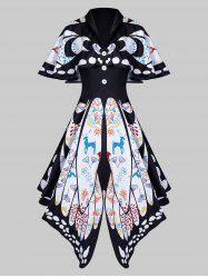 Shawl Collar Butterfly Print Buttoned Asymmetric Dress -