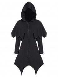 Hooded Zip Up Asymmetrical Capelet Gothic Coat -