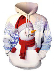 Plus Size 3D Snowman Print Christmas Pullover Hoodie -