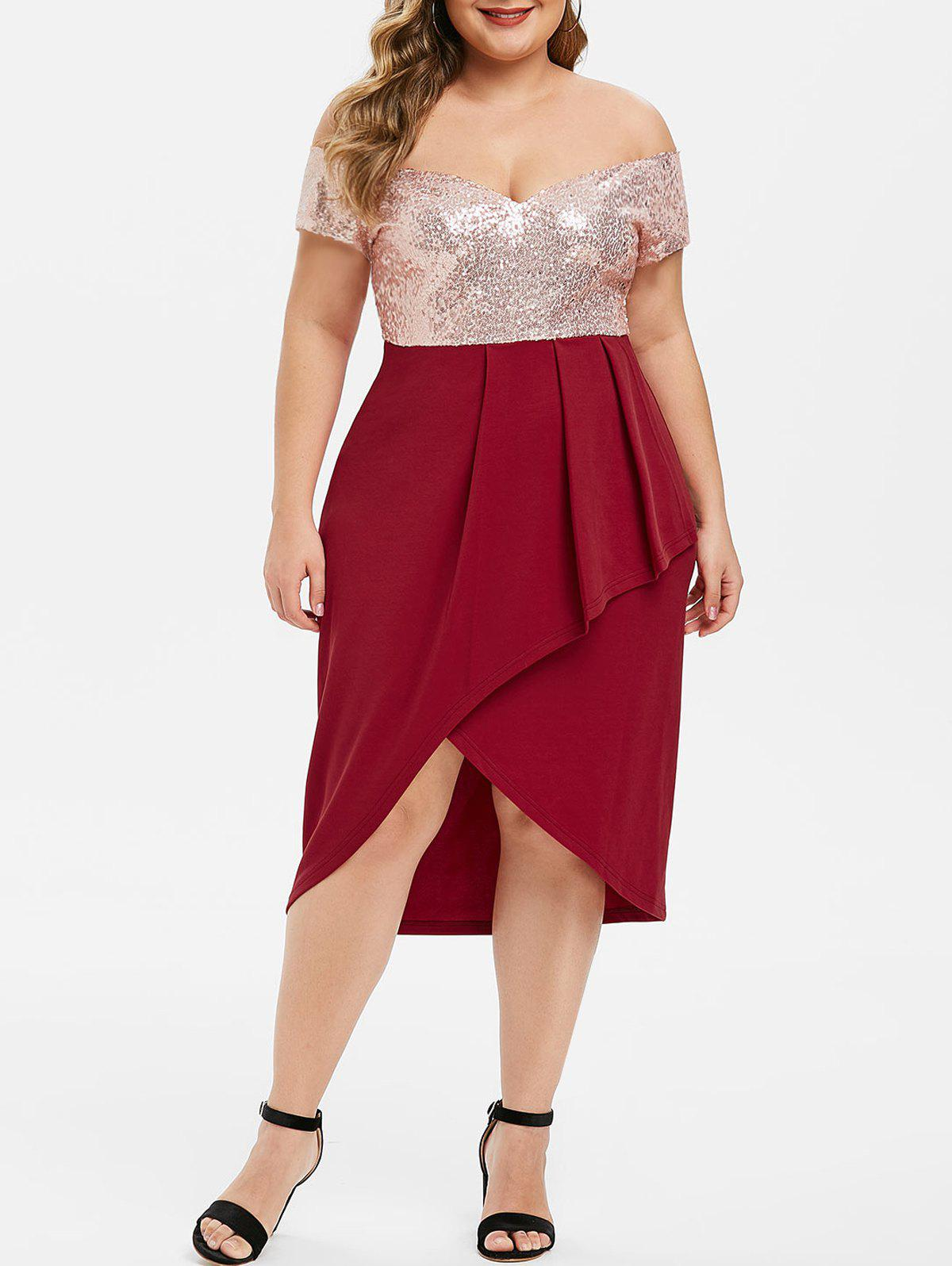 Outfit Sequined Off Shoulder Party Tulip Plus Size Dress