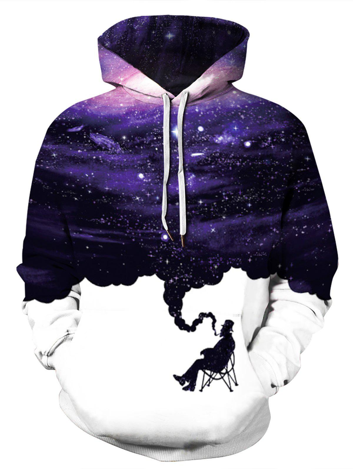 Buy Plus Size Galaxy Smoke Print Kangaroo Pocket Pullover Hoodie