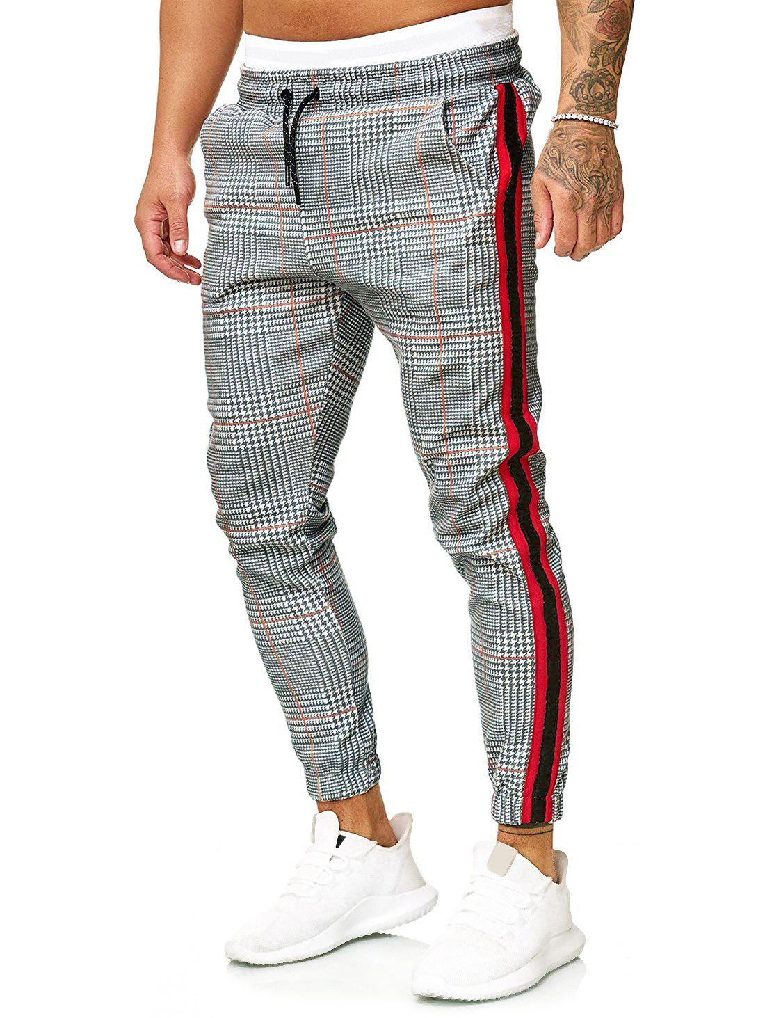 Discount Contrast Striped Spliced Pattern Graphic Print Casual Jogger Pants