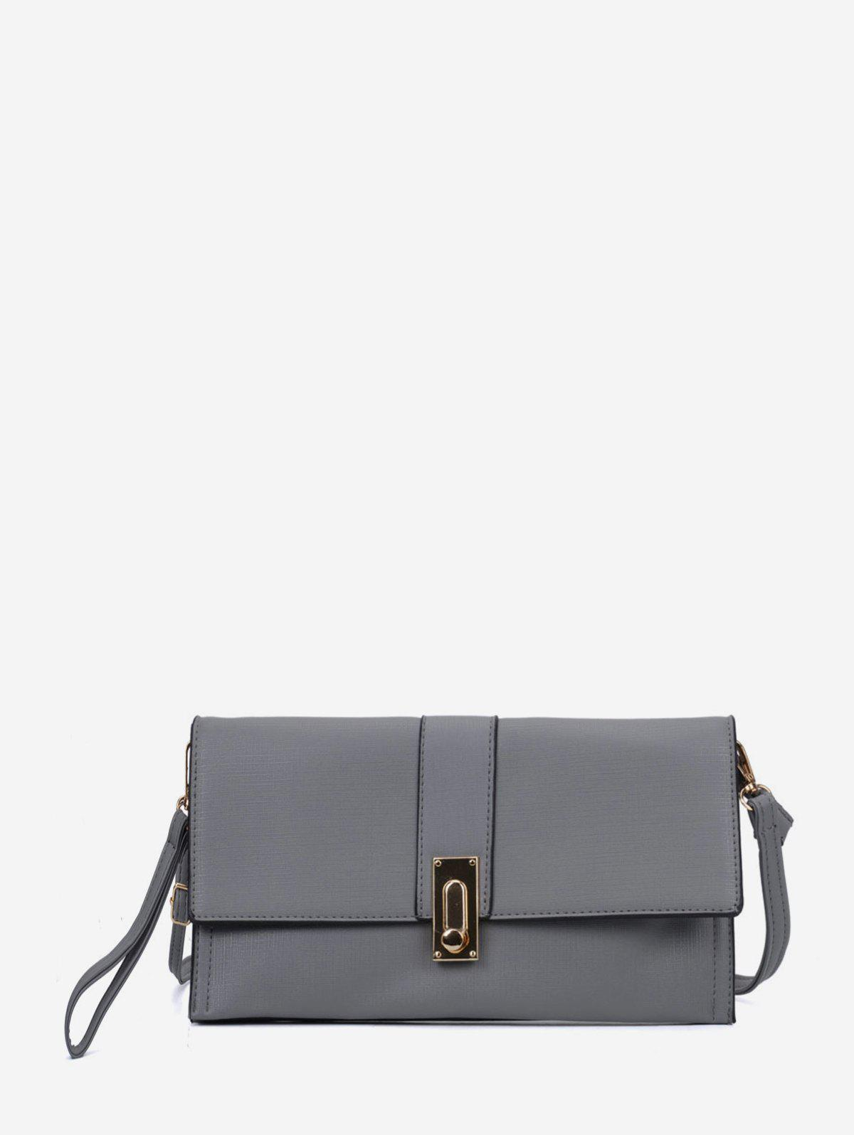 Fancy Square Simple Buckle Solid Clutch Bag