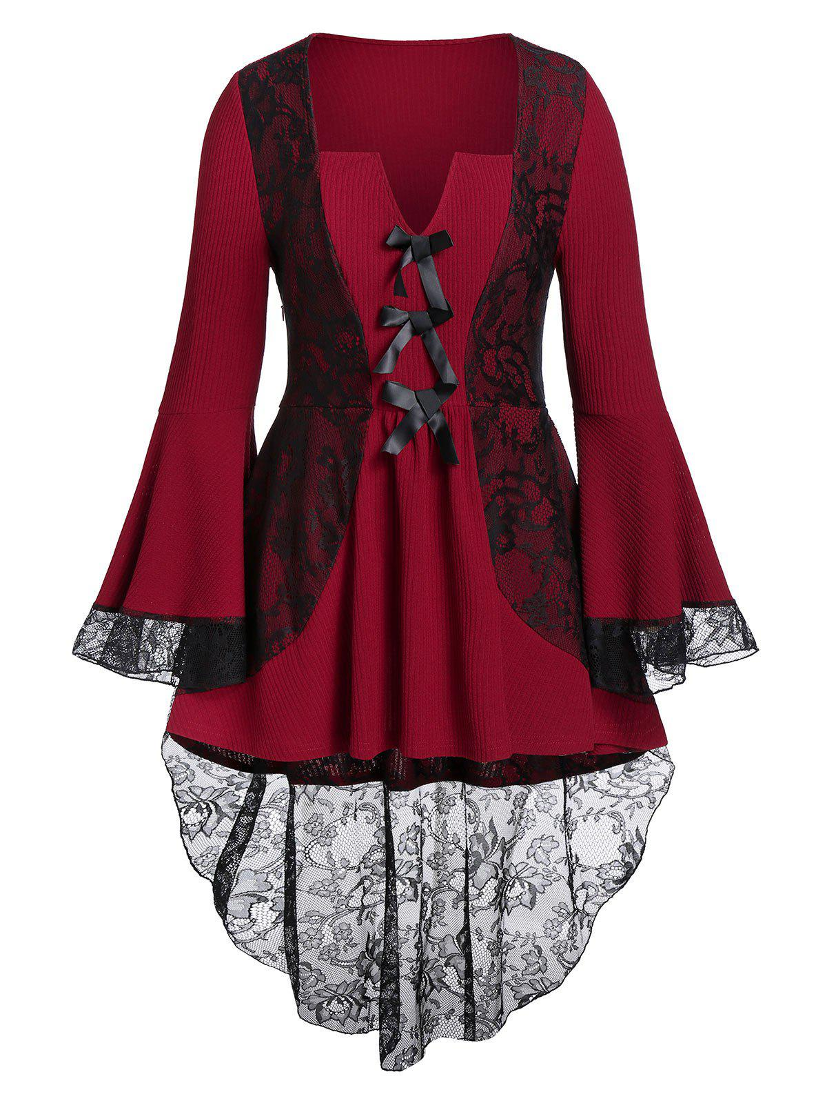 Плюс размер Flare Sleeve Lace Contrast Bowknot High Low Top