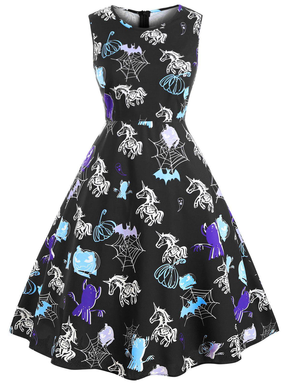 Shop Plus Size Vintage Printed Halloween Party Dress