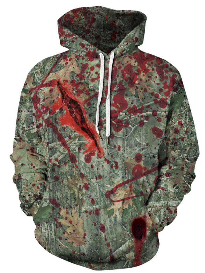 Affordable Plus Size Halloween Bloody Forest Print Kangaroo Pocket Pullover Hoodie
