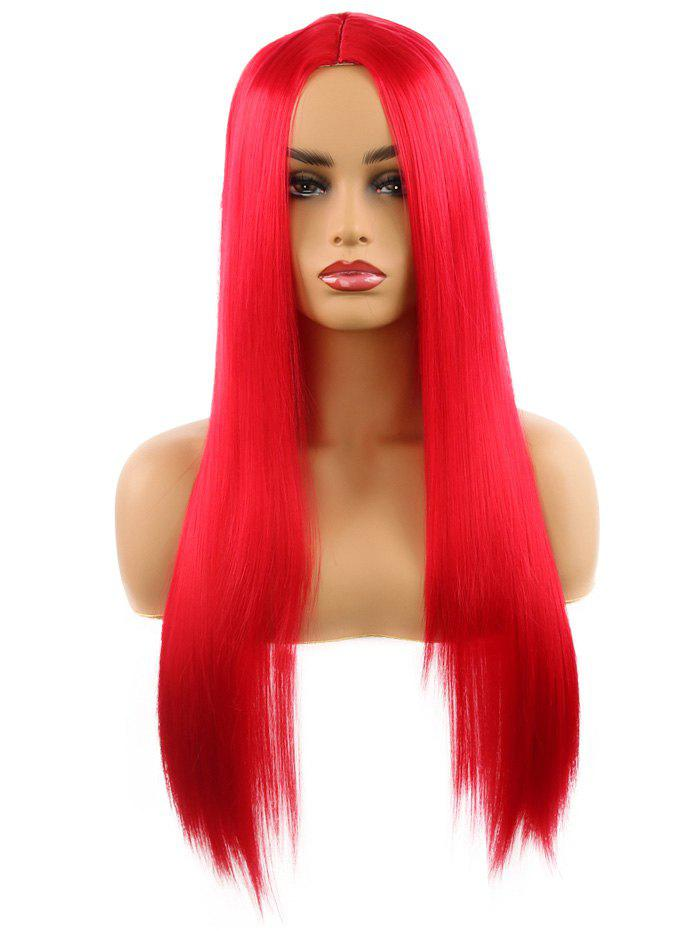 New Synthetic Center Part Straight Long Wig
