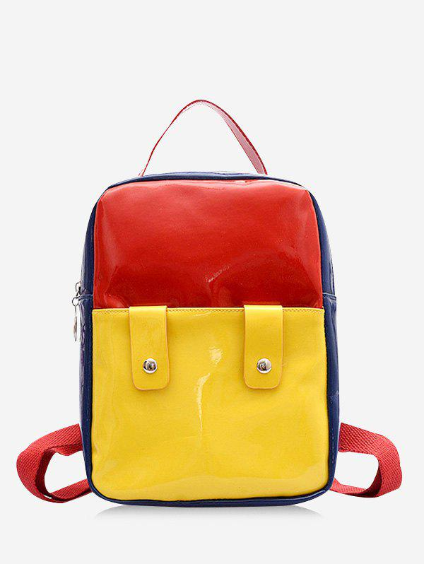 Sale Color Block Rectangle Patent Leather Backpack