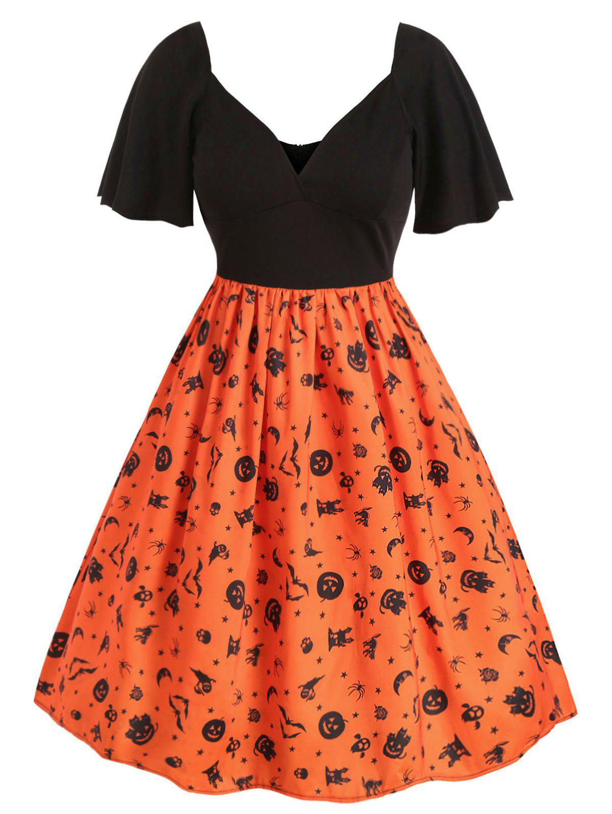 Plus Size Vintage Printed Halloween Pin Up Dress