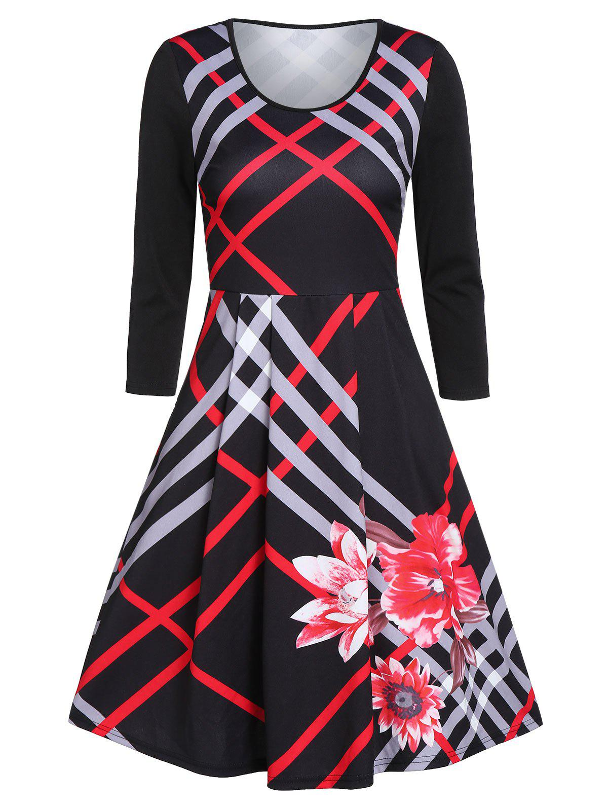 New Striped Round Collar Fit And Flare Dress