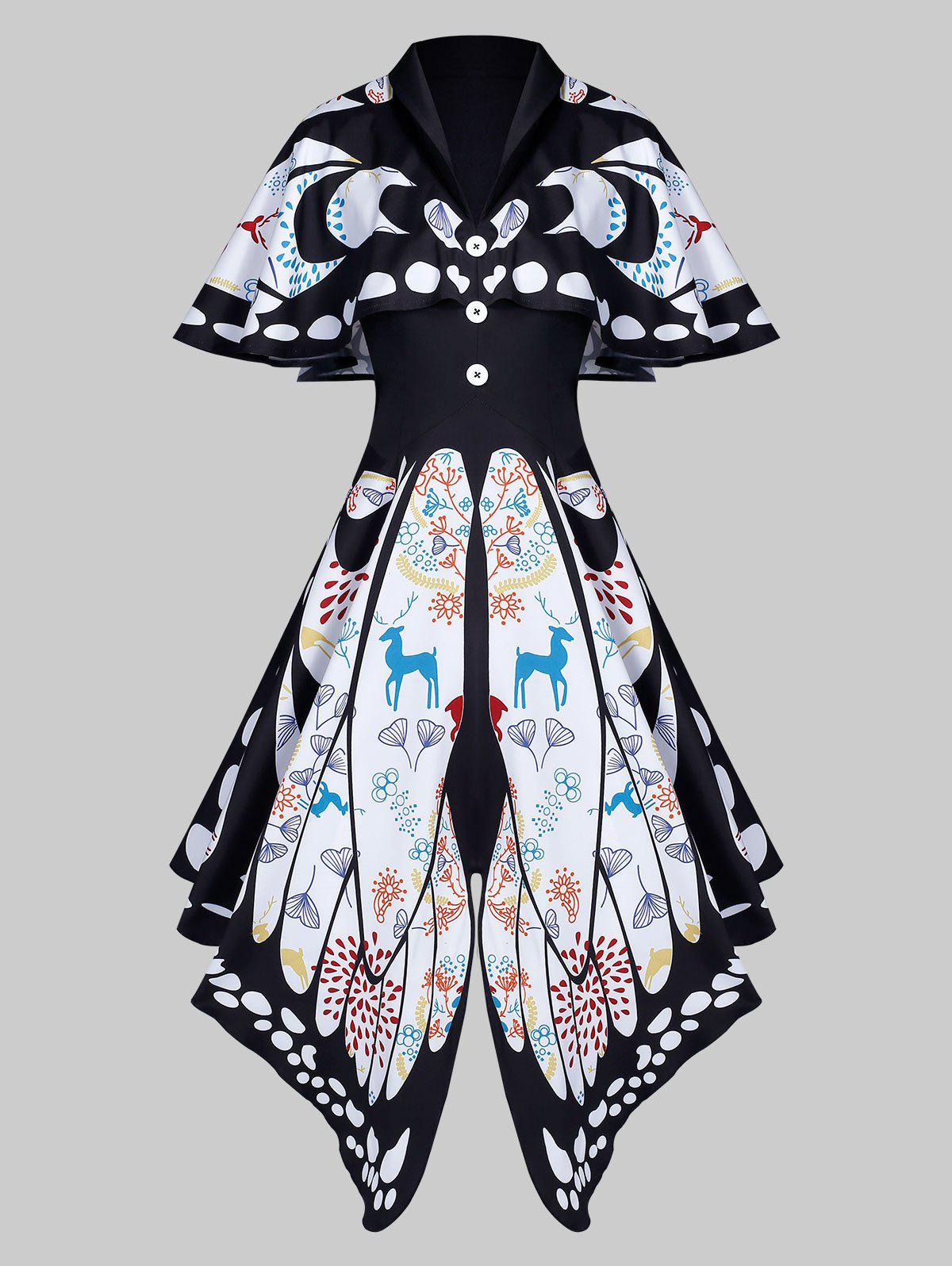 Trendy Shawl Collar Butterfly Print Buttoned Asymmetric Dress