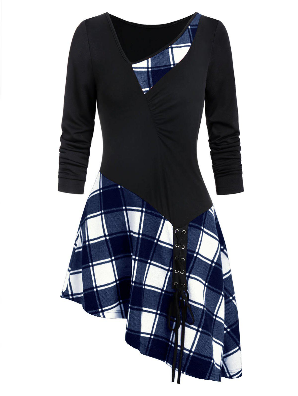 Fancy Asymmetry Plaid Ruched Lace Up T-shirt