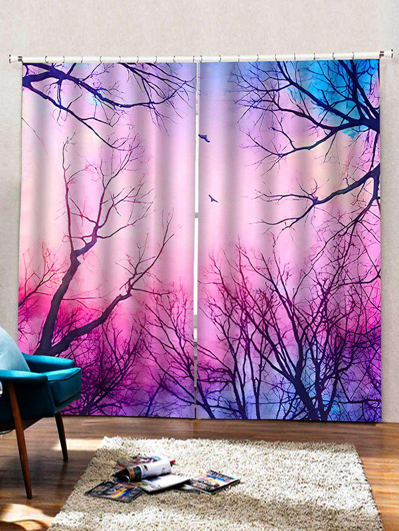 Sale 2 Panels Forest Galaxy Print Window Curtains