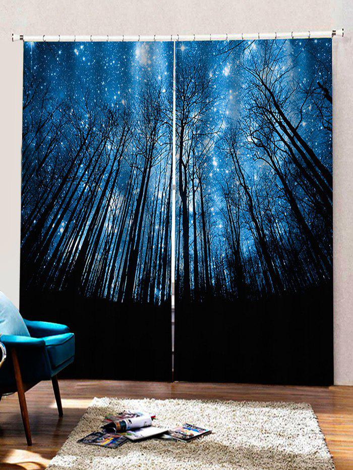 Discount 2 Panels Starry Sky Forest Print Window Curtains