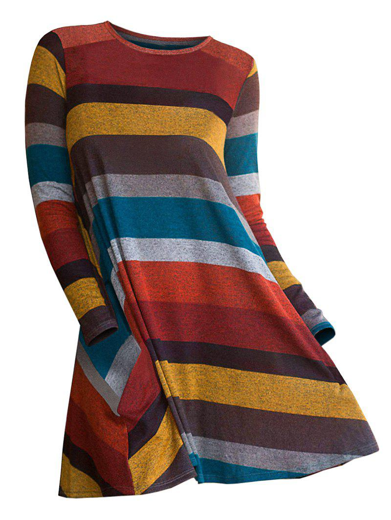 Fancy Striped Long Sleeve Longline Knitwear