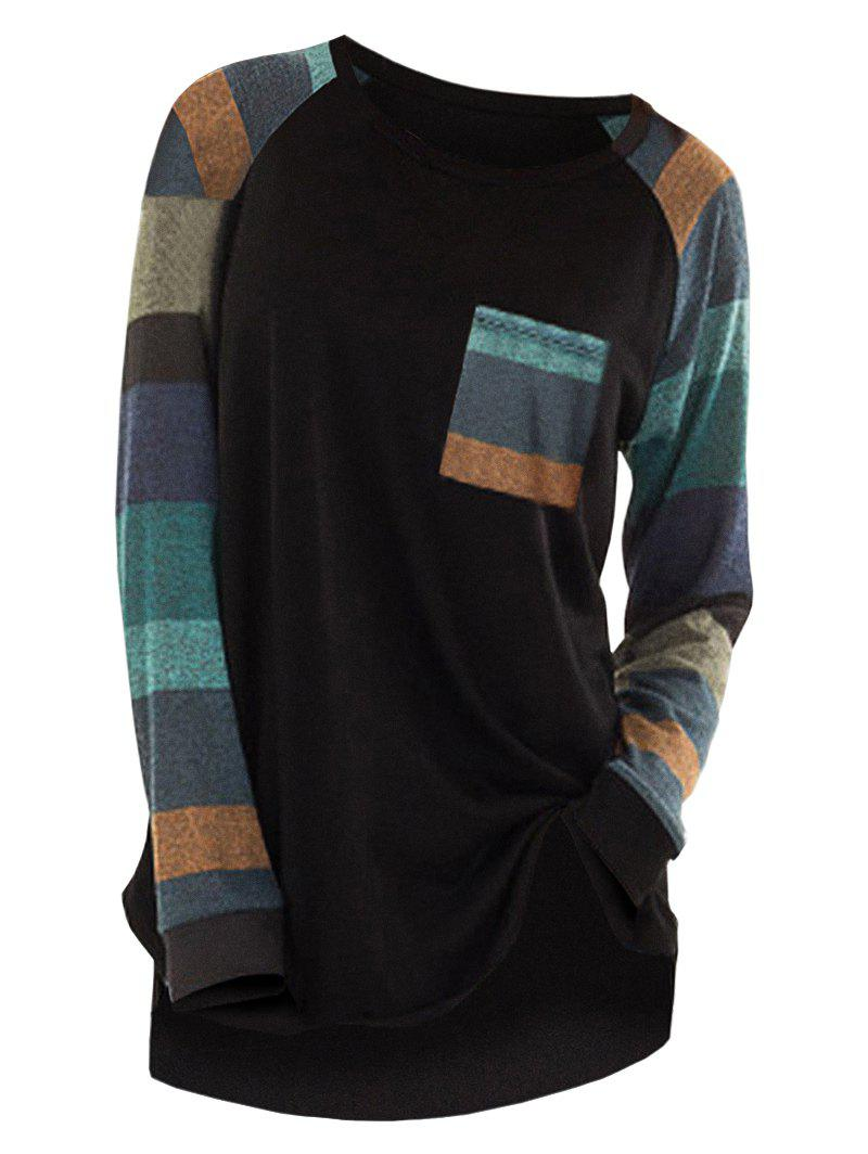 Sale Raglan Sleeve Striped Pocket Longline T-shirt