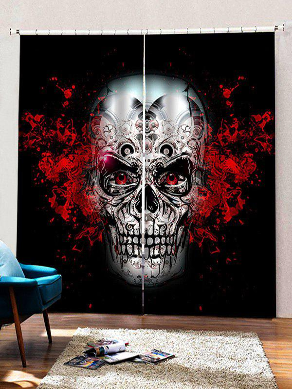 Shops 2 Panels Halloween Gear Skull Print Window Curtains