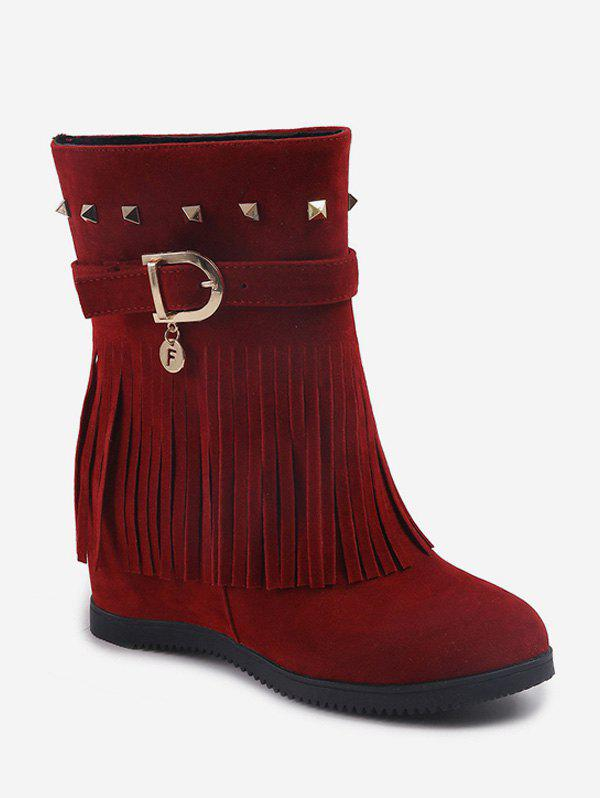 Best Hidden Heel Fringed Rivet Mid Calf Boots