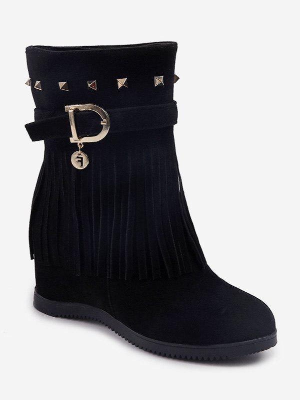 Unique Hidden Heel Fringed Rivet Mid Calf Boots
