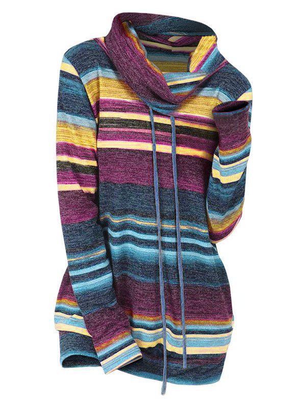 Unique Striped Drawstring Cowl Neck Knitwear